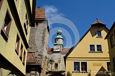 Clock tower and medieval buildings in Rothenburg