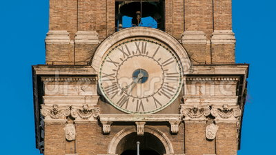 Clock tower on Neo classic museums buildings timelapse. Capitoline hill landmark square designed by Michelangelo stock video
