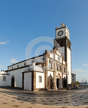 Free Clock Tower Of Church Of San Sebastian At Ponta Delgada Stock Image - 29813941