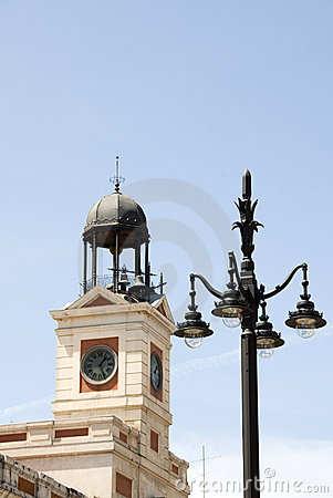 Clock tower Puerta del Sol Madrid Spain