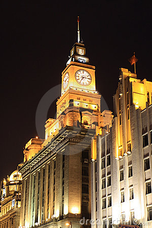 Clock Tower Shanghai Bund Night Customs Editorial Stock Photo