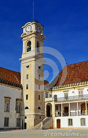 University of Coimbra Clock Tower Editorial Stock Photo