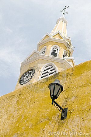 Clock tower walled city Cartagena Colombia