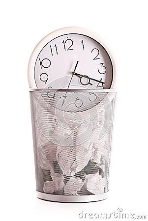 Clock in trash