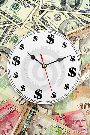 Clock us and canadian dollars