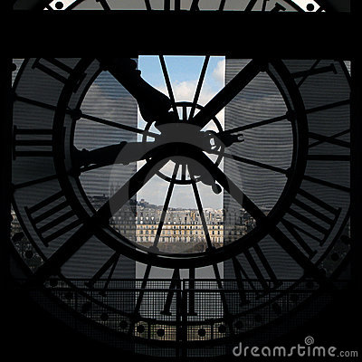 Clock view of Paris from Orsay Museum, France