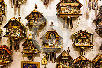 clock vintage cuckoo clocks in shop bavaria munich germany editorial stock image image. Black Bedroom Furniture Sets. Home Design Ideas
