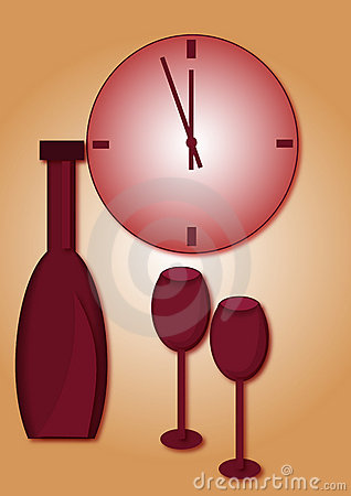 Clock and wine