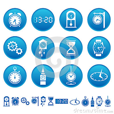 Free Clocks And Watches Icons Royalty Free Stock Image - 30072446