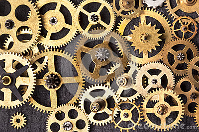 Clockwork cogs - Old brass clock parts