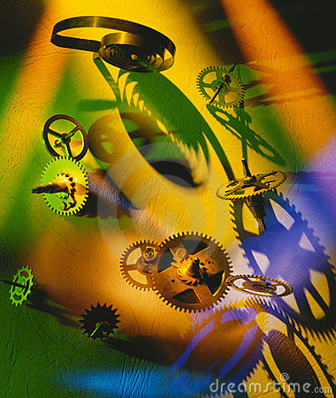 Clockwork cogs and springs in colored light