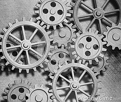 Clockwork gears and cogs metal background
