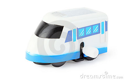 Clockwork toy white train with blue windows