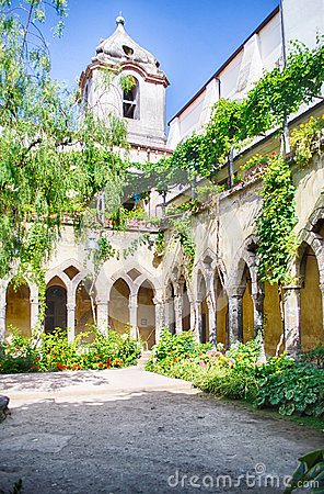 Cloister at San Francesco d Assisi Church in Sorrento, Italy