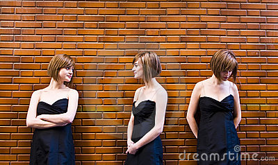 Cloned woman in different expressions