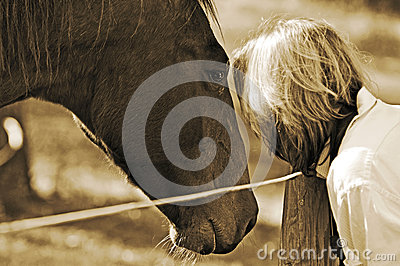 Close bond between woman and horse