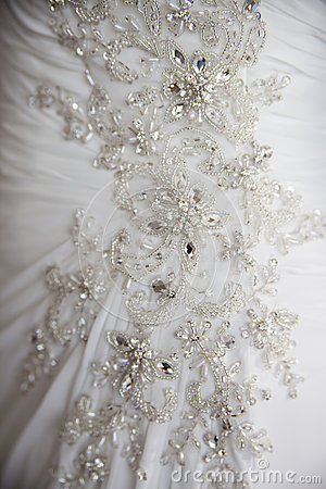Close detail on wedding dress