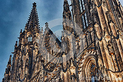 Close HDR view on gothic St. Vitus cathedral in Prague Castle