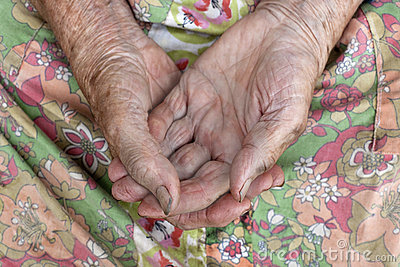 Close of old womans hands