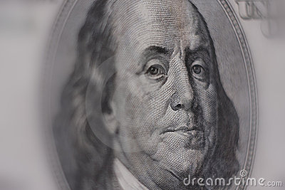 Close-up of a $100 banknote