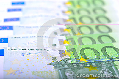 Close-up of 100 Euro banknotes