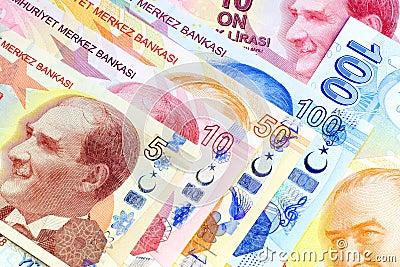 Close up of 5, 10 , 50 and 100 Lira