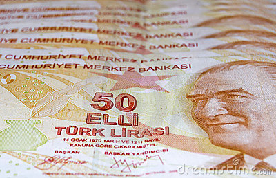 Close up of 50 Turkish Lira