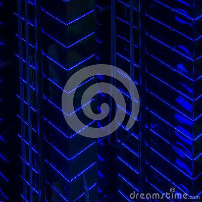 Free Close-up Abstract Of Pattern Of Bright Blue Led Backlight Walls Of High Glowing Building, Modern Lighting Of Buildings Stock Photography - 103352482