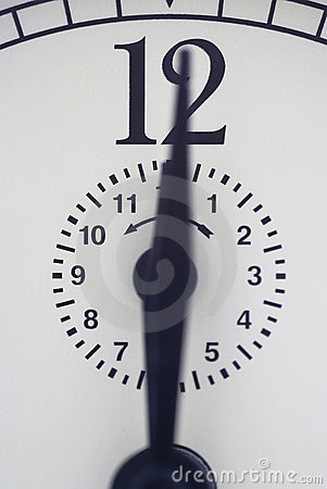 Close up of an alarm clock set to  twelve o`clock