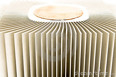 Close up of aluminum cpu cooler