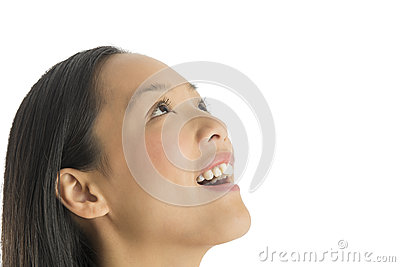 Close-Up Of Amazed Woman Looking Up