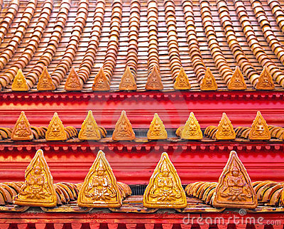 Close up Angle Statue at Roof Tiles of Temple