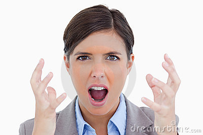 Close up of angry shouting entrepreneur