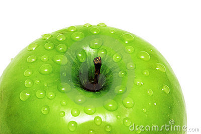Close-up of an apple and water