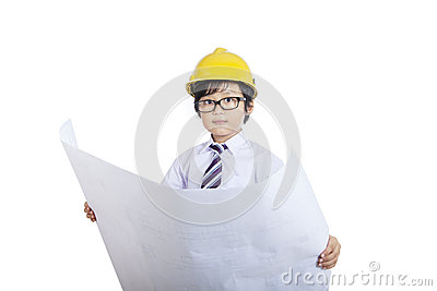 Close-up architect boy holding blueprint - isolated