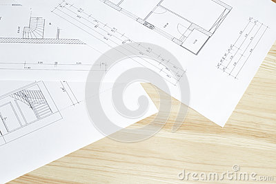 Close-up of architects blueprint.