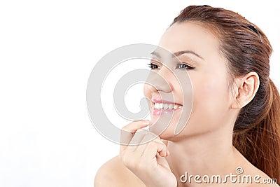 Close-up of an asian woman