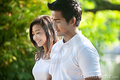 Close up of attractive asian couple