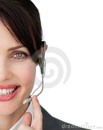 Close-up of an attractive customer service agent