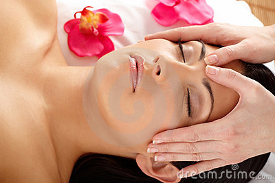 Close-up of Attractive Woman Relaxing Spa