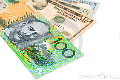 Close Up Of Australian Dollar Currency Note Against US Dollar Stock Photo - Image: 57861109