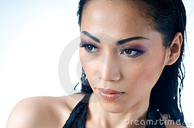 Close up of beautiful Asian woman