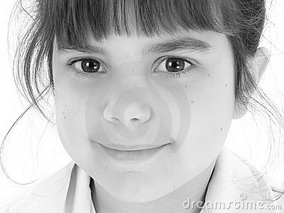 Close Up of Beautiful Five Year Old Girl in Black And White