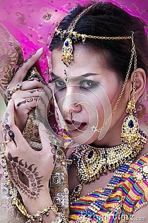 Free Close Up Beautiful Indian Girl Young Hindu Woman Model With Kund Stock Photos - 104074163