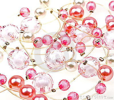 Close-up beautiful string of beads to background