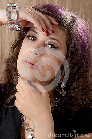 Close Up of Beautiful Woman s Face and Hands