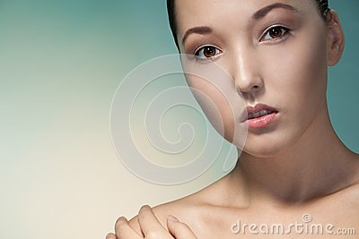 Close-up beauty portrait of Asian woman
