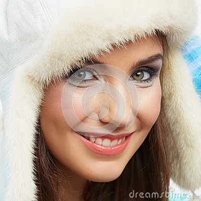 Close up Beauty smiling woman portrait