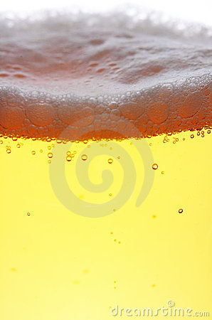 Close up of beer with bubbles