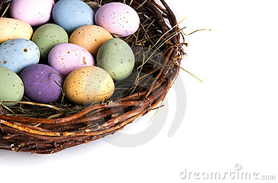 Close-up of bird s nest full of easter eggs
